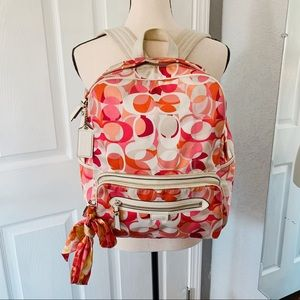 Coach Poppy backpack pink red orange white
